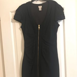 gold double zipper midi dress (thick material)